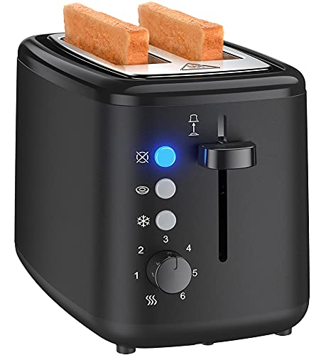 Toaster 2 Slice, 1.5 In Wide Slot Toaster, Cool Touch with 6 Shade Selectors, 2 Slice Toaster with High Lift Lever, Removal Crumb Tray, for Bagels, Waffles, Bread, Bun or English Muffins, Black