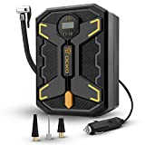 FAST INFLATING SPEED & STRONG POWER:Plug the air compressor into the 12V power outlet, it could ups to 150 PSI, Inflate the car tire from 0 to 35psi under 4min, just flip the switch and the tire inflator compressor will do all the work for you HUMANI...