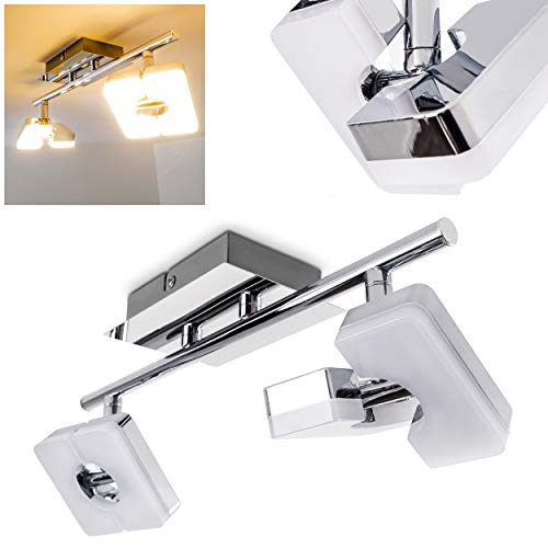 LED plafondlamp Turijn, plafondlamp in chroom, 2 vlammen, met 2 verstelbare spots, 6 Watt elk, 420 Lumen (840 Lumen totaal), lichtkleur 3000 Kelvin (warm wit)