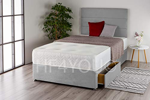 Home Furnishings UK Suede 3 Panel Divan Bed Set with a Memory Sprung Mattress and Matching Headboard (No Drawers) (4FT Small Double, Silver)