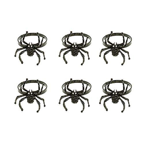 YINLANG Anneau, 6 pièces Halloween araignée Anneaux de Serviette Noir araignée Porte-Serviette Anneau pour Halloween fête Maison Cuisine Salle à Manger Table Accessoires