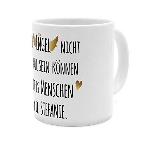 printplanet Tasse mit Namen Stefanie - Motiv Engel überall - Namenstasse, Kaffeebecher, Mug, Becher, Kaffeetasse - Farbe Weiß