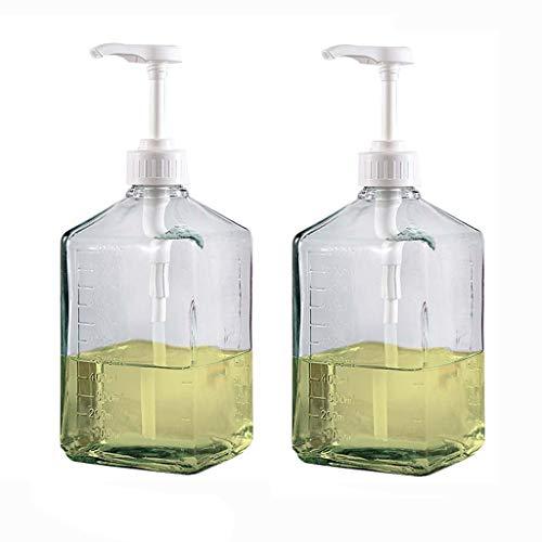 37 oz Distributeur de Savon Transparent Bouteille en Verre Lotion Manuel Savon d'inspiration Vintage for Le mélange Rechargeables Huile Essentielle (Color : 2*Clear)