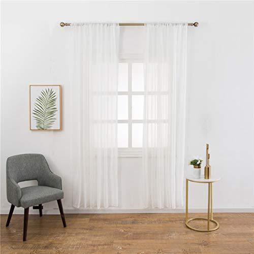 IMIKEYA 1pc cortinas de gasa semi ventana cortinas de lino transparente ventana de tul para baño sala de estar dormitorio - 100x200cm blanco