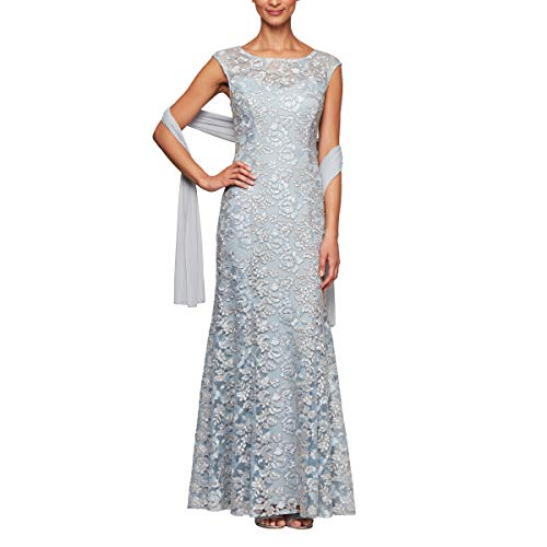 Alex Evenings Women's Long Sleeveless Dress with Beaded Detail Faux Belt and Shawl, Light Blue Lace, 12