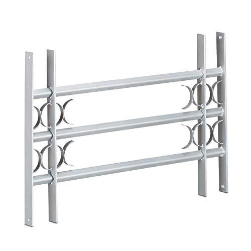 Relaxdays Fenstergitter Einbruchschutz, Ausziehbar, Aussen, Verzinkt, Stahl, 450 x 700-1050 mm, Sicherheitsgitter, grau