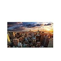 Ipea マンハッタンエンパイアステートビルニューヨーク市の風景キャンバスポスターリビングルームの装飾のための壁の芸術の写真-20X40インチフレームなし