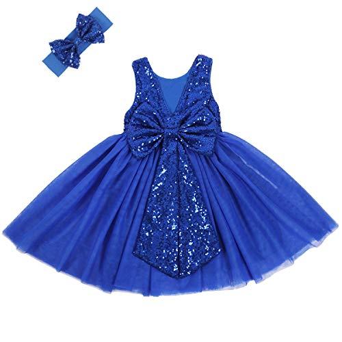 Cilucu Flower Girl Dress Baby Toddlers Sequin Dress Tutu Kids Party Dress Bridesmaid Wedding Gown Birthday Dress Royal Blue 12months-24months