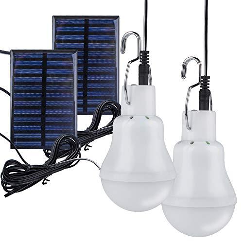 Bombilla de luz LED con energía solar, lámpara de linterna portátil TechKen, foco de lectura para interiores y exteriores, con panel solar para jardín, patio, patio, tienda de campaña, pesca