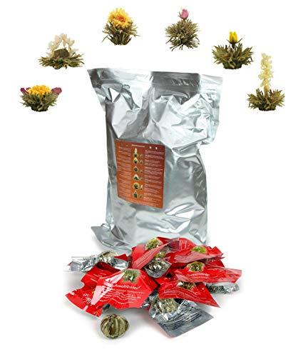 Creano Teeblumen 36 Teekugeln weißer Tee Großpackung, Erblühtee im Bulkpack, Teerosen, Blooming Tea, Flowering Tea