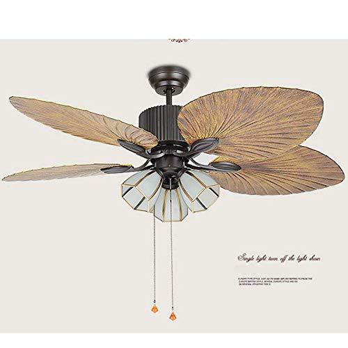 Ventilador de techo Jasemy, iluminación LED, lámpara de techo redonda, regulable, 52 pulgadas, ventilador de techo con 3 luces E27 y 4 hojas de palma + mando a distancia