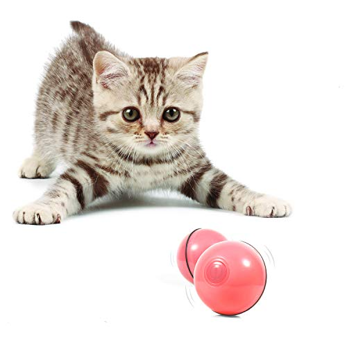 YOFUN Smart Interactive Cat Toy - Newest Version 360 Degree Self Rotating Ball, USB Rechargeable Pet Toy, Build-in Spinning Led Light, Stimulate Hunting Instinct for Your Kitty (Pink)