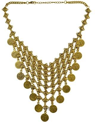 Collar de collar gitano, turco, bohemio, antiguo, piedra roja, verde y verde, collar de moneda étnica (Color de metal: chapado en rodio)