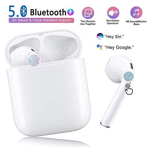 Auriculares Bluetooth 5.0 Inalámbricos Deportivos In-Ear Mini Auriculares,emparejamiento automático emergente,Touch Control y Pop-Up Conexión,Compatible Android/iPhone,90% de teléfonos,tabletas,etc.