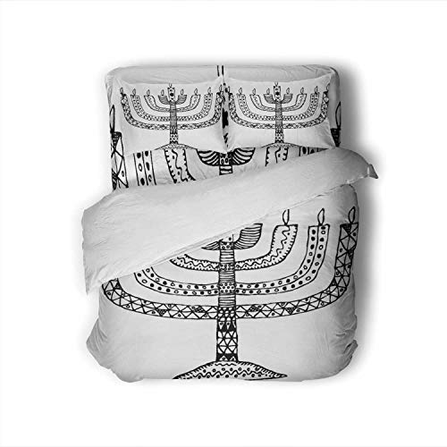 Hitecera Hanukkah.Holiday.Candle.Doodle,100% Cotton King Size Sheets Set - Soft 4 Piece Sheets and Pillowcases Hand Draw Candle King