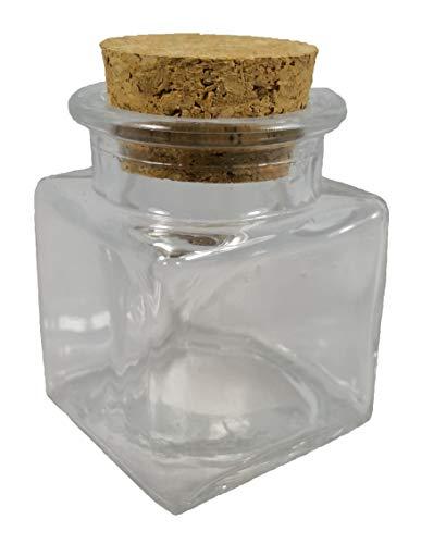 12x Barattoli bomboniera confettata in vetro quadro quadrato con sughero