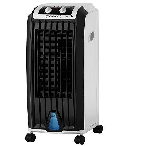 Monzana Luftbefeuchter 4in1 5 L Tank Timer 3 Stufen Mobiles Klimagerät Ventilator Klimaanlage Ionisator Luftkühler