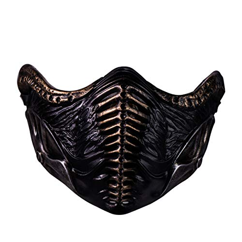 Dealtrade Saibot Maske Cosplay Kostüm MK 11 Spiel Halbes Gesicht Harz Masken für Erwachsene Halloween Karneval Party Merchandise Zubehör