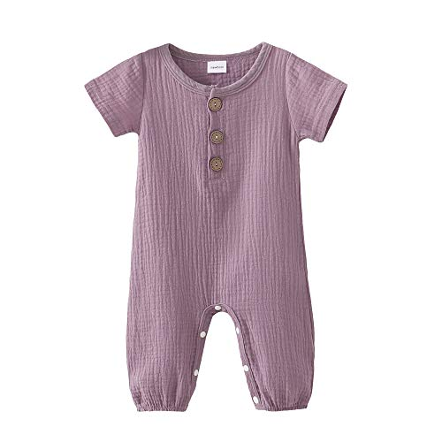 Toddler Baby Girls Boys Romper Solid Infant Romper Purple Jumpsuit One-Piece Bodysuit Summer Outfit Baby Onesie 12-18 Months Girl Clothes