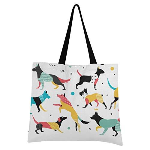 JUMBEAR Set von Hunden, Leinen-Tragetasche, groß, lässige Umhängetasche, wiederverwendbar, Mehrzweck-Handtasche, buntes Polyester, Einkaufstasche für Frauen und Mädchen