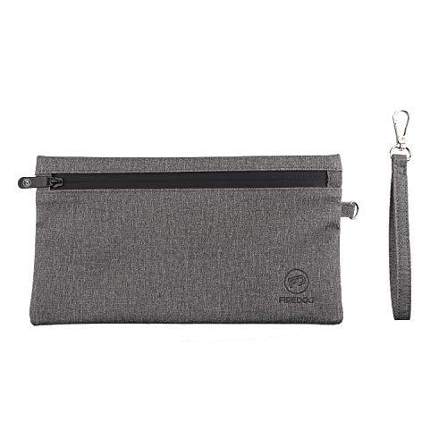 FIREDOG Geruchsdichte Tasche, geruchsdichter Beutel, mit Karbonfutter, Reise-Aufbewahrungsbeutel, geruchsdicht, Grau, 27,2 x 15,2 cm