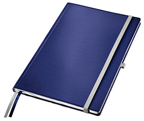 Leitz A4 Notizbuch, 80 Blatt, Hardcover, Karierte Seiten, Inkl. 2 Lesezeichen, Style, Titan Blau, 44760069