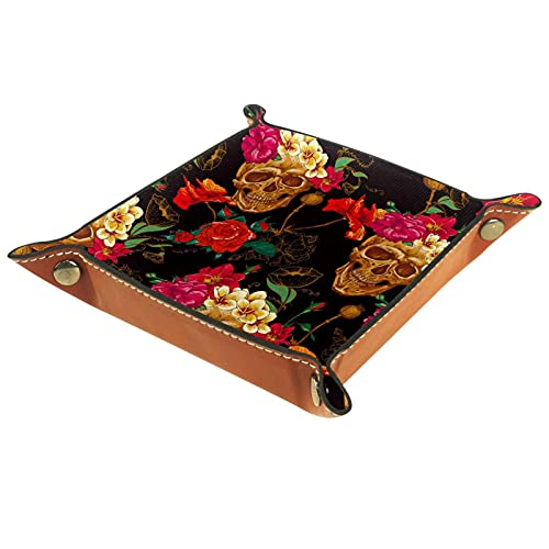 Capturador de cuero, monedero, bandeja de artículos personales, valet de almacenamiento, broches de metal de latón, artículos esenciales para el hogar y el viaje flor floral