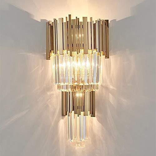 Tivivose LED de Moda neoclásica lámpara de Pared de Cristal Comedor Pasillo Pasillo Creativo Porche cabecera del Dormitorio de la lámpara de Oro Utilizado en Salones, restaurantes, dormitorios, b