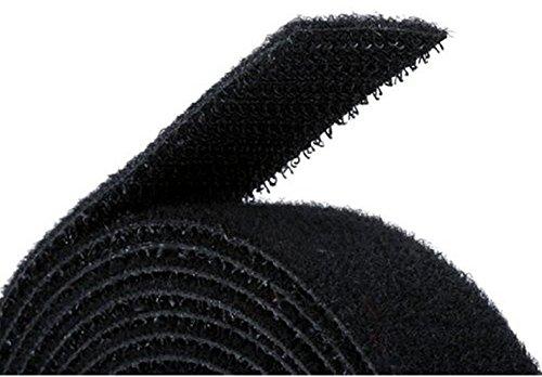 """Reusable Hook & Loop Strong Grip Fastener Roll 1"""" x 16' (1"""" Wide, 16 Feet Long) - Black"""