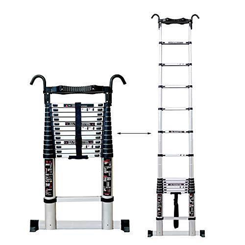 Scale telescopiche- Heavy Duty Extension Ladder Alto con Ganci e Barra Stabilizzatrice, Climb Folding Scaletta Dritta per La Casa Loft Ufficio, Facile da Usare (Size : 5.4m 17.7ft)