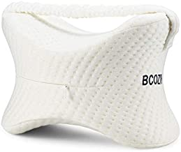 BCOZIN Knee Pillow for Side Sleepers, 100% Pure Memory Foam Knee Pillow Between Legs for Sleeping&Orthopedic Leg Pillow for Sciatica Pain Relief Hip, Back Pain and Pregnancy, 1 Pcs, White