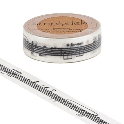 Simplydeko Washi Tape | Masking Tape | Washitape | Bastel-Klebeband aus Reispapier | Deko-Tape zum Basteln, DIY, Bullet Journal & Scrapbooking | Musik