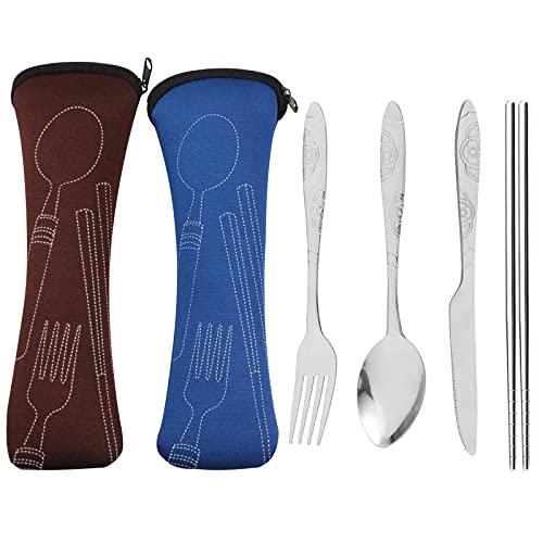 LuLiyLdJ Ensemble de couverts portables 8 pièces, ensemble de couverts en acier inoxydable, couteau à couverts, fourchette, cuillère, baguettes, sac de transport