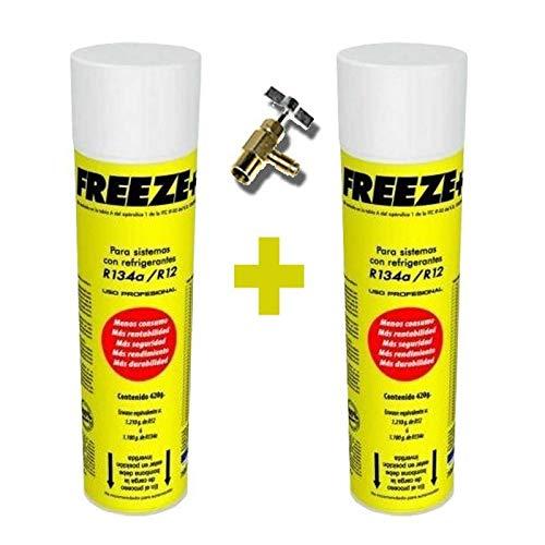 REPORSHOP - 2 Botellas Gas Refrigerante Freeze 445Gr + Valvula Organico Sustituto R12/R134A