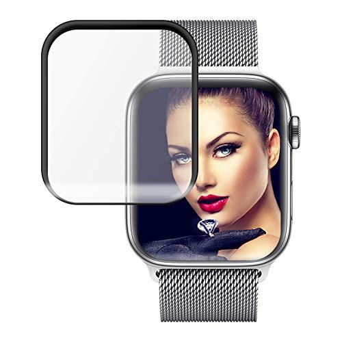 mtb more energy® Gewölbtes 3D Schutzglas für Apple Watch 4 (40 mm) - schwarz - komplette Display Abdeckung - Curved Tempered Glass Hartglas Glasfolie Schutzfolie