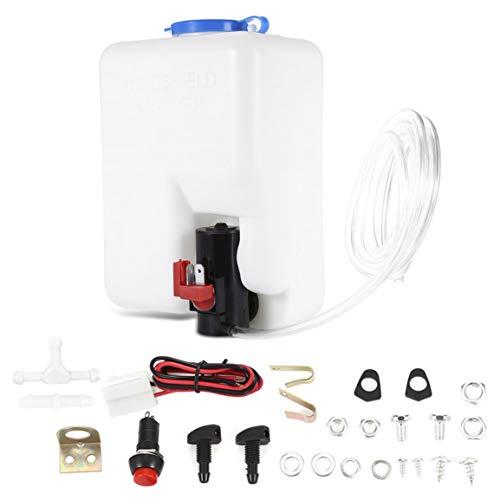 Garciasia Lavadora Tanque Bomba Kit de botella Sistemas de limpiaparabrisas universales Depósito de calidad (Color: blanco)
