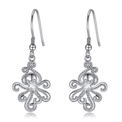 WINNICACA Tintenfisch Ohrringe Sterling Silber Ocean Dangle Drop Hooks Ohrringe Muttertag Schmuck für Frauen Teenager Geburtstagsgeschenke