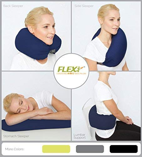 Flexi The Original 4-in-1 Convertible Travel Pillow for Side, Stomach and Back Sleepers. Lumbar Support. Features Adjustable Strap and Travel Bag. Four Colors. Washable. (Navy)