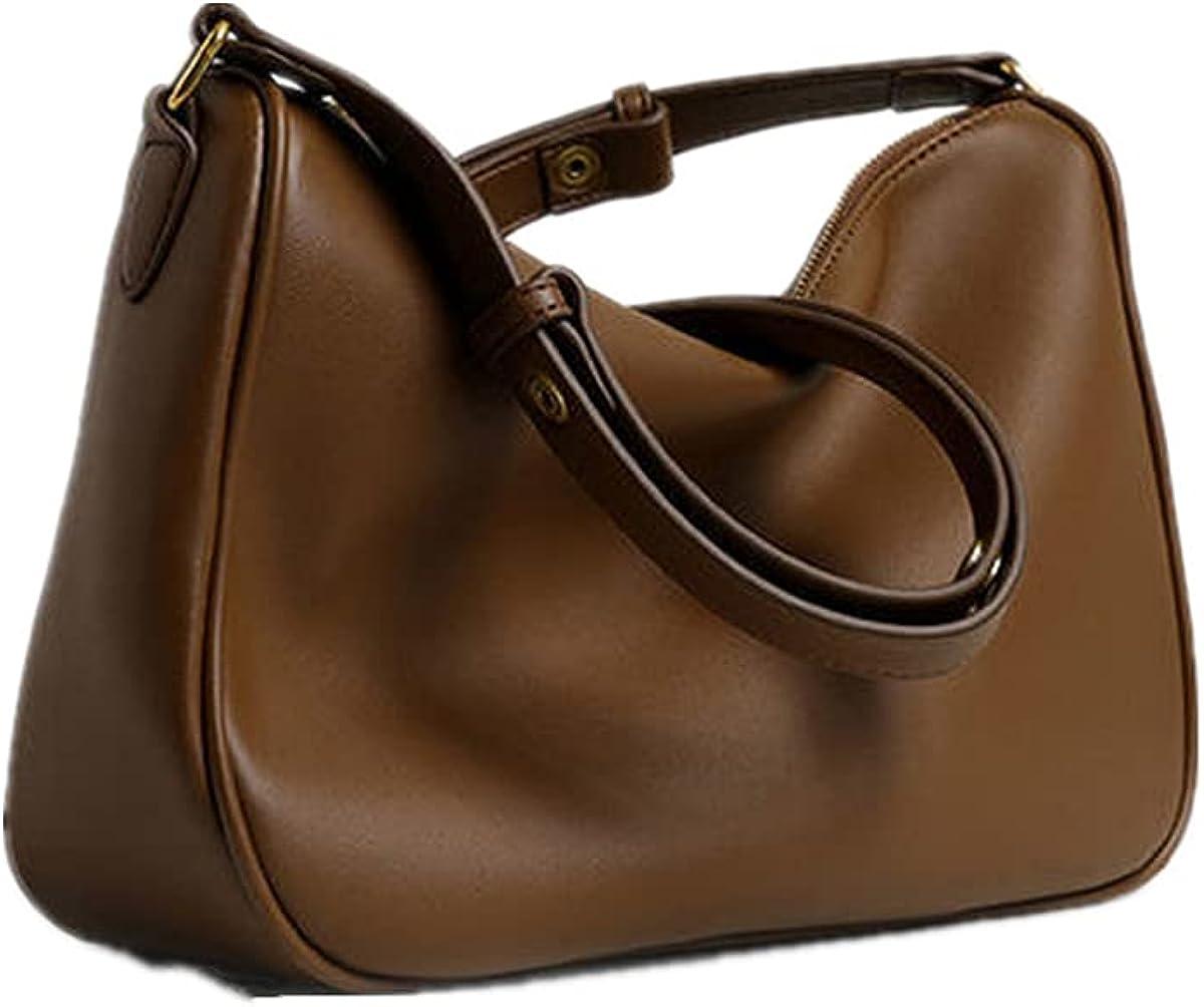 Soft PU Leather Tote Handbag Hobo Bucket Shoulder Bags Purses and Handbags Set with Zipper Large Capacity Tote Bag for Women