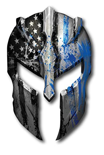 Thin Blue LINE Spartan Helmet American Flag Police Officer Blue Lives Matter Sniper Vinyl Decal Stickers Car Truck Sniper Marines Army Navy Military Graphic