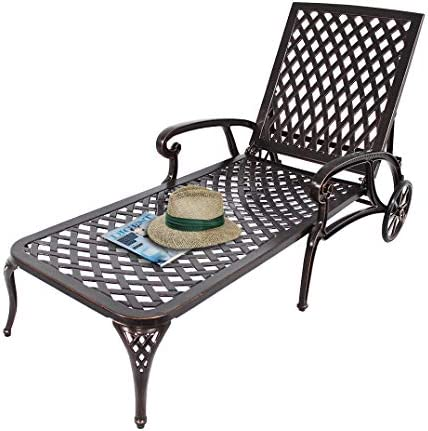 Best HOMEEFUN Chaise Lounge Outdoor Chair, Aluminum Pool Side Sun Lounges with Wheels Adjustable Reclinin
