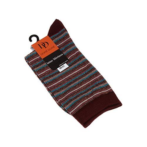 Dore Dore Socke mittelhoch - 1 paar - verstärkte Ferse - Verstarkte zehen - Flachnaht - ohne Frotte - Gestreifte - Fine - Laine - Rouge - DD - 36/41