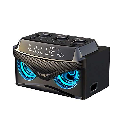 Haut-Parleur Bluetooth sans Fil Mini Portable 25w BoîTe A Sons SuppléMentaire Basse 3 Haut-Parleurs + 2.1 Canaux + éCran LED + Double RéVeil + Radio FM pour Voiture, Maison, Plein Air, Camping Noir