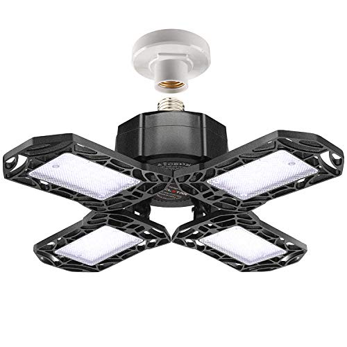 LED Garage Lights 120W – 12000LM Garage Lights Ceiling LED, 6000K Four-Leaf Deformable LED Garage Lighting Fixture with Adjustable Multi-Position Panels, Best for Garage, Workshop