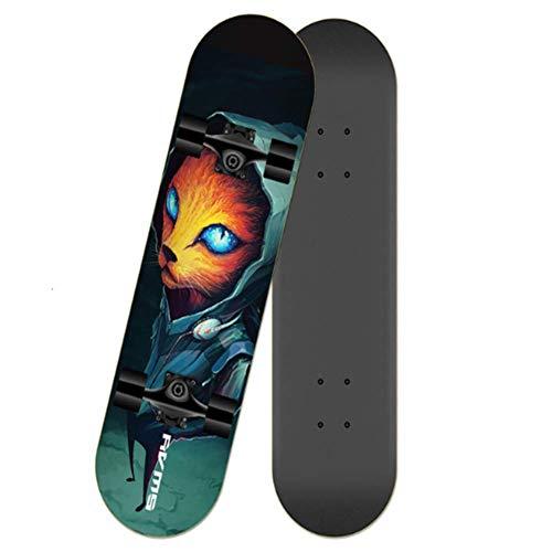 LYXQQ Anti-slip Complete Skateboard, Flash Wheel Longboard Skateboard Beginners Vier wielen Skateboard Volwassenen en adolescenten Professionele Scooter Lager Gewicht 200Kg 80 * 20 * 12CM