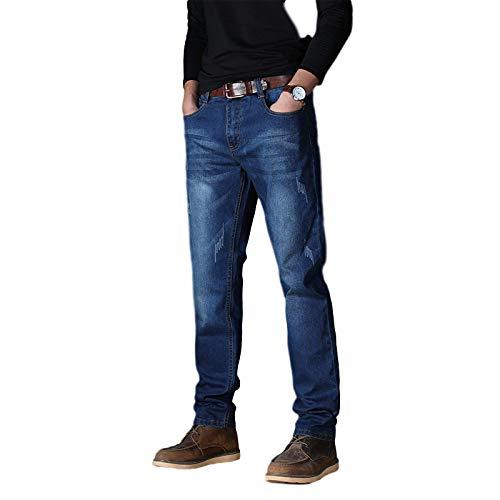 Pantalones Vaqueros para Hombre Primavera y otoño Pantalones Casuales de Cintura Alta elásticos Altos de Negocios Sueltos y Sencillos 46
