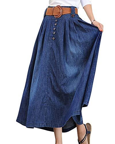 Señoras Falda De Verano Elegante De Verano Chica Falda Clásico Moda Playa Chicos De La Vendimia Faldas Ocasionales Pantalones Vaqueros Ocio Larga Falda De Mezclilla Falda De Mezclilla Señoras