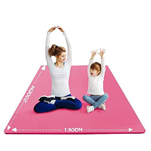 YUREN Groß Yogamatte Extra Weit 2X1,3 M Gymnastikmatte Übungsmatten für Partner Yoga 10mm Weiche Dicke NBR-Schaum Stretch Fitness Heimtrainingsmatte Mit Gurt - Rosa