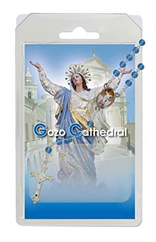 Rosario de la Virgen María de la catedral de Goz, de semicristal azul con oración en inglés