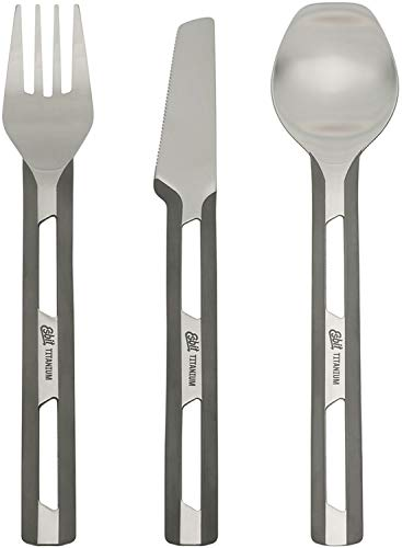 Esbit Ultra Lightweight Titanium Cutlery 3 Piece Set with Fork, Spoon and Knife